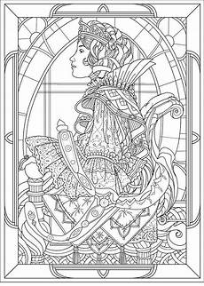 free coloring page coloring nouveau style