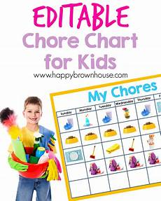 Chore Chart Kits Editable Chore Chart For Kids Happy Brown House