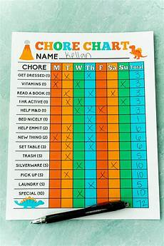 Chore Chart For 6 Year Old Free Printable Chore Charts For Kids Play Party Plan