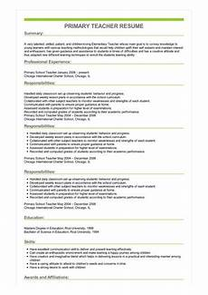 Primary School Teacher Resumes Primary Teacher Resume Great Sample Resume