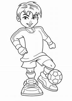 a boy on complete soccer jersey coloring page
