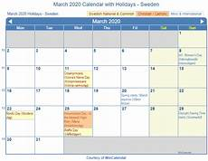 March 2020 Printable Calendar With Holidays Print Friendly March 2020 Sweden Calendar For Printing