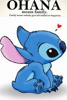 stitch quote ohana means family and family means