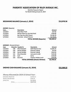 Treasurer Report Treasurer S Reports Parent S Association Of Avenue