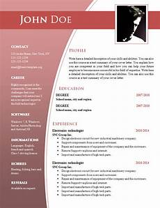 It Cv Template Word Cv Templates For Word Doc 632 638 Free Cv Template