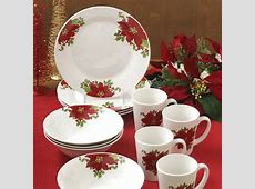 Christmas Holidays Poinsettia 12 Piece Dinnerware Set