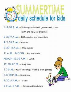 Printable Daily Schedule Kids Free Printables Summertime Daily Schedule And Chore Chart