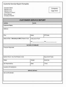 Air Conditioning Service Report Template 2 Customer Service Report Templates Writing Word Excel