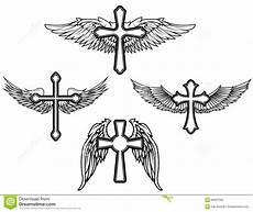 Cross With Wings Designs Set Of The Cross With Wings Stock Vector Illustration Of