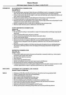 Business Objects Resume Samples Reporting Coordinator Resume Samples Velvet Jobs