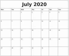 2020 17 Blank Calendar July 2020 Blank Calendar Printable