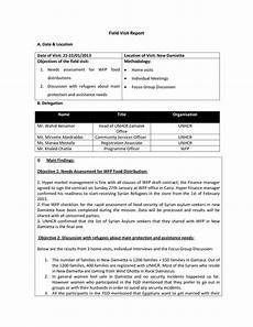 Visiting Report Template Field Visit Report Templates At Allbusinesstemplates Com