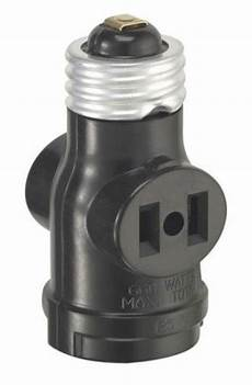 Outdoor Light Bulb Outlet Adapter Leviton Single Light Socket 2 Outlet Adapter Black