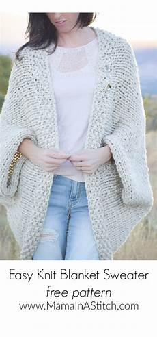 easy knit blanket sweater pattern in a stitch