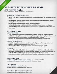 Resume Samples For Teacher Substitute Teacher Resume Sample Functional Teaching