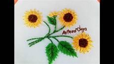 sunflower embroidery lazy stitch diy