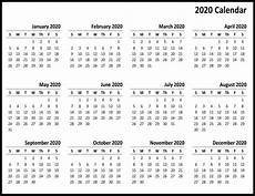 Yearly Calendar 2020 Printable Free Printable 2020 Yearly Calendar Template Best
