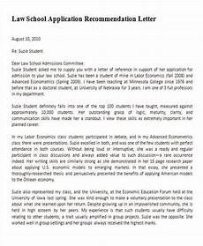 How To Write Law School Letter Of Recommendation Free 5 Sample Law School Recommendation Letter Templates