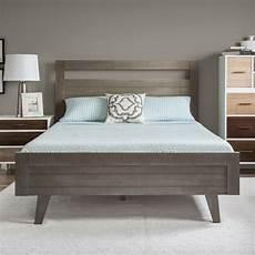platform bed modern mid century grey gray wood