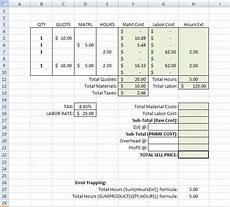 Job Costing Template Excel Building A Simple Estimating Template In Excel Tm Iv On