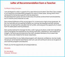 Recommendation Letter For Elementary Student From Teacher Teacher Recommendation Letter 20 Samples Fromats