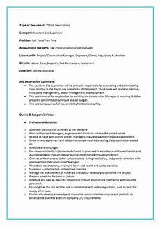 Nursing Supervisor Job Description Assistant Site Supervisor Job Description Freelancer