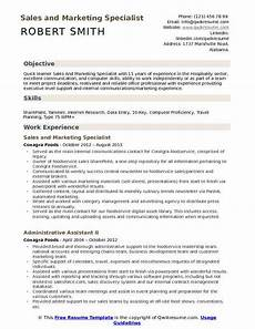 Marketing Specialist Resume Sample Sales And Marketing Specialist Resume Samples Qwikresume
