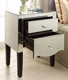 monaco mirrored bedside table 2 drawer mirror furniture