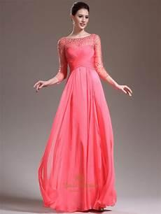 sleeve formal dress free watermelon chiffon sleeve prom dress with illusion