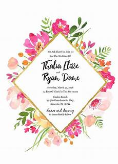 Design An Invitation To Print Free Gold Floral Free Editable Wedding Invitation In 2020