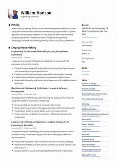 Electronics Engineer Resume Samples Engineering Technician Resume Amp Writing Guide 12
