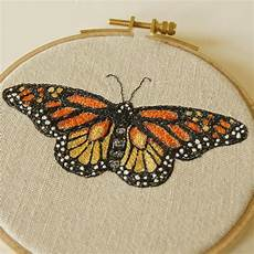 hoop embroidery monarch butterfly danaus plexippus