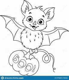 bat with pumpkin for coloring page stock vector