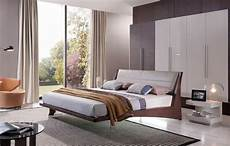 volterra contemporary floating bed w grey headboard and