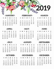 At A Glance Yearly Calendar Free Printable 2019 Calendar Yearly One Page Floral