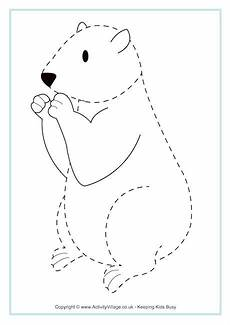 Animal Patterns To Trace Groundhog Tracing Page