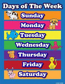 Printable Days Of The Week Chart Learning Days Of The Week Elementary School Teachers Aid