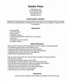 Examples Of Resumes Templates 1 Casting Assistant Resume Templates Try Them Now