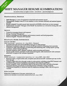 Combination Resume Samples Fast Food Shift Manager Combination Resume Sample
