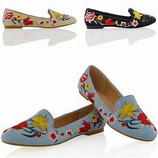 new womens embroidered loafers shoes floral slip on