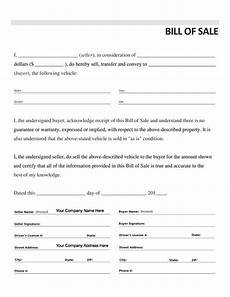 Bill Of Sale Car Template Free Printable Car Bill Of Sale Form Generic