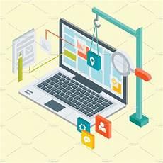 web e design de aplicativos isometric web design illustrations creative market