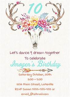 Party Invation Boho Girls Party Invitation Encore Kids Parties