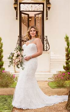 plus size lace over satin fit and flare wedding dress