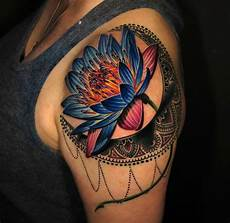 Lotus Flower Designs On Shoulder Vivid Lotus Flower Amp Moon Best Design Ideas