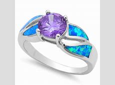 Faceted Amethyst & Blue Opal .925 Sterling Silver Ring