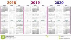 12 Months Calendar 2020 Printable 12 Months Calendar Design 2018 2019 2020 Stock Vector
