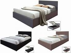 hopsack fabric ottoman storage bed 4ft6 gas lift