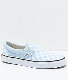 Light Blue And Checkered Vans Vans Slip On Baby Blue Amp White Checkered Skate Shoes Blue