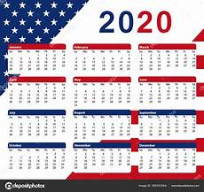 Us Calendars 2020 Usa Calendar Months Colors American Flag Vector